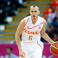 06 August 2012: Spain Sergio Rodriguez brings the ball upcourt during 88-82 Team Brazil victory over Team Spain, during the men's basketball preliminary, at the Basketball Arena, in London, Great Britain.