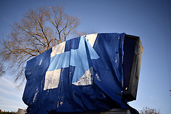 Signage outside a former pharmacy in Lancaster, PA. is covered with a wrap with the campaign logo at a Democratic  campaign office in Lancaster, PA, on Nov. 5th, 2016. The Keystone state is considered a mayor battleground in the 2016 US General Elections.