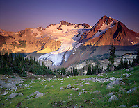 Overlord Mountain and Glacier in evening light, Fitzsimmons Range of Garibaldi Provincial Park British Columbia Canada