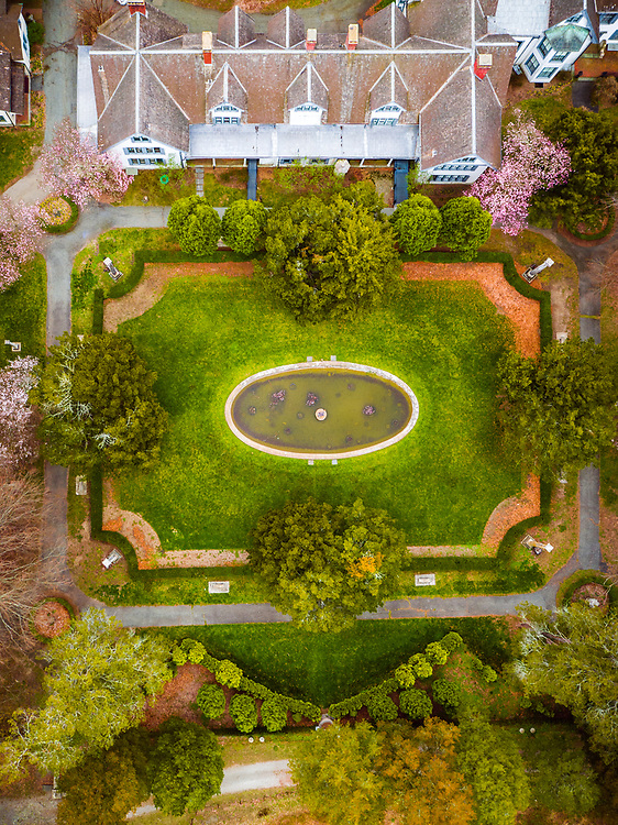 Top down photo of one of the gardens at Ringwood Manor
