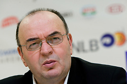 Coach of Partizan Dusko Vujosevic at press conference after the first semifinal match of League NLB Final Four tournament  between KK Partizan Beograd and Hemofarm STADA Vrsac, on April 23, 2010, in Arena Zagreb, Zagreb, Croatia.  (Photo by Vid Ponikvar / Sportida)