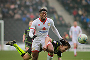 MK Dons Chuks Aneke(10) straining to get the ball during the EFL Sky Bet League 1 match between Milton Keynes Dons and Bristol Rovers at stadium:mk, Milton Keynes, England on 3 March 2018. Picture by Nigel Cole.