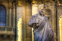 A colossal statue of Sts. Peter was commissioned by Pope Pius IX on Easter 1847.  The statue was sculpted by Giuseppe De Fabris in 1838-40 and stands 5.55m in height, on a pedestal 4.91m high.