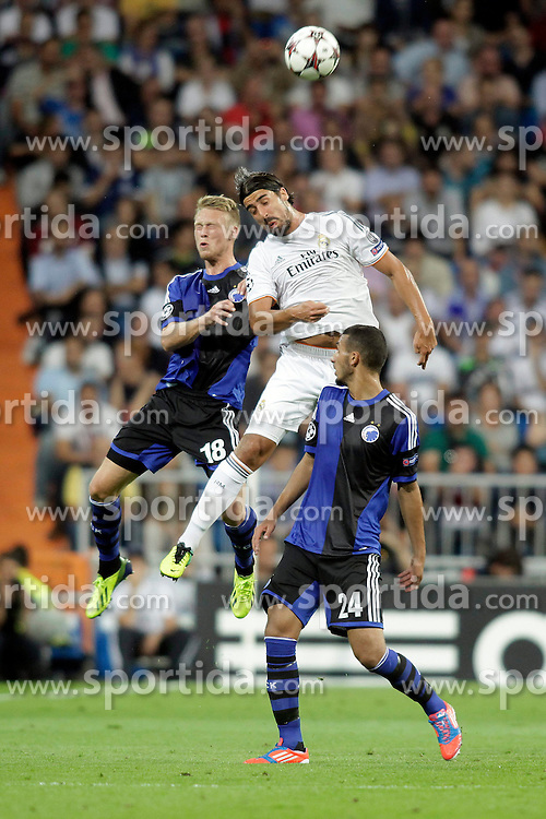 02.10.2013, Estadio Santiago Bernabeu, Madrid, ESP, UEFA Champions League, Real Madrid vs FC Kopenhagen, Gruppe B, im Bild Real Madrid Khedira (C) and FC Kopenhagen Jorgensen (L) and Toutouh // during the UEFA Champions League Group B match between Real Madrid and FC Kopenhagen at the Estadio Santiago Bernabeu, Madrid, Spain on 2013/10/02. EXPA Pictures &copy; 2013, PhotoCredit: EXPA/ Alterphotos/ Ricky Blanco<br /> <br /> ***** ATTENTION - OUT OF ESP and SUI *****