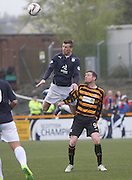 Dundee's Iain Davidson towers above Alloa Athletic's Andrew Kirk - Alloa Athletic v Dundee, SPFL Championship at Recreation Park, Alloa<br /> <br />  - &copy; David Young - www.davidyoungphoto.co.uk - email: davidyoungphoto@gmail.com