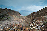 Coastal view looking down from Punta Pitt on San Cristobal island, part of the Galapagos islands of Ecuador.