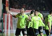 Brighton striker, Tomer Hemed (10) celebrates Brighton winger, Jamie Murphy (15) early goal for Brighton during the Sky Bet Championship match between Bristol City and Brighton and Hove Albion at Ashton Gate, Bristol, England on 23 February 2016.