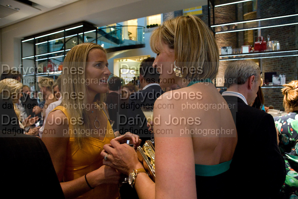 INDIA HICKS; SANTA PALMER-TOMPKINSON, Book launch party for  Sashenka, a romantic novel set in St Petersburg following a society girl who becomes involved with the Communist Party. By Simon Sebag-Montefiore. Asprey. New Bond St. London. 1 July 2008.  *** Local Caption *** -DO NOT ARCHIVE-© Copyright Photograph by Dafydd Jones. 248 Clapham Rd. London SW9 0PZ. Tel 0207 820 0771. www.dafjones.com.