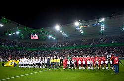 MONCHENGLADBACH, GERMANY - Wednesday, October 15, 2008: Wales' players before the 2010 FIFA World Cup South Africa Qualifying Group 4 match against Germany at the Borussia-Park Stadium. (Photo by David Rawcliffe/Propaganda)