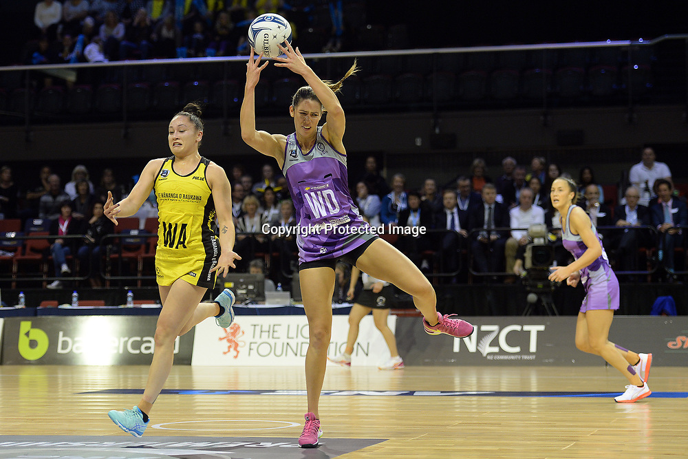 Kayla Cullen of the Stars grabs the ball pass to Pulse's Whitney Souness during the ANZ Premiership Netball match between Central Pulse v Northern Stars TSB Arena, Monday 08th May 2017. Copyright Photo: Raghavan Venugopal / www.photosport.nz