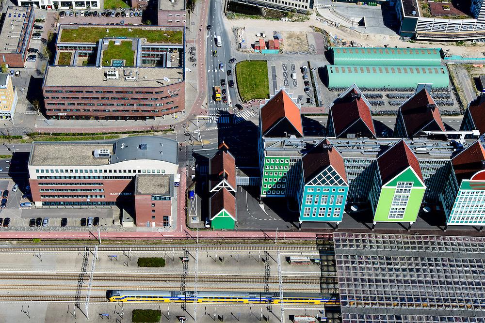 Nederland, Noord-Holland, Zaandam, 20-04-2015; Inverdan, nieuwe stadscentrum Zaandam, masterplan Sjoerd Soeters. Met Station en Stadhuis.<br /> New center of the city of Zaandam, developed according to the master plan by architect Sjoerd Soeters. Train station and city hall. The hotel built in a postmodern version of the style of the historic houses of Zaandam - Inntel Hotel - was designed by Wilfried van Winden.<br /> luchtfoto (toeslag op standard tarieven);<br /> aerial photo (additional fee required);<br /> copyright foto/photo Siebe Swart