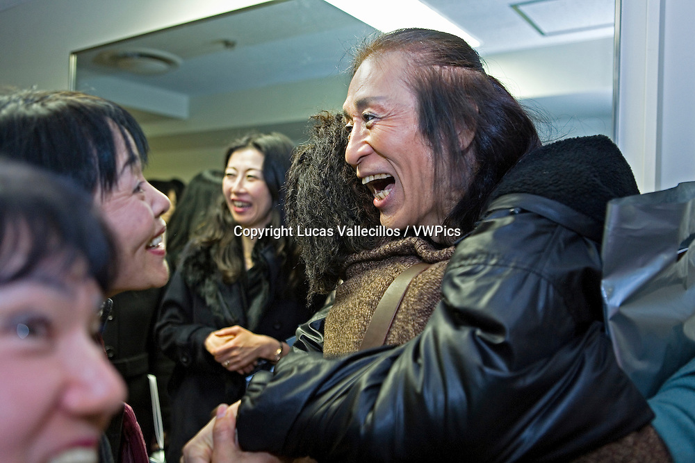 Fans congratulating to Shoji Kojima, after a show. In le Theatre GINZA. Tokyo, Japan