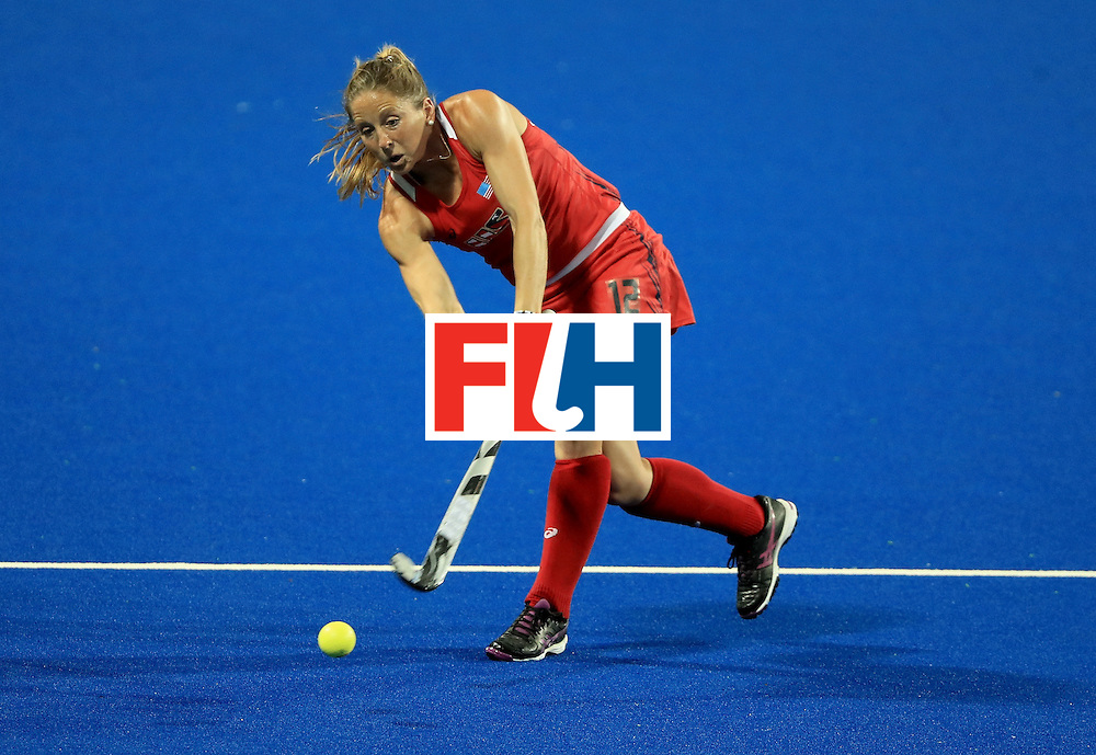 RIO DE JANEIRO, BRAZIL - AUGUST 11:  Julia Reinprecht #12 of the United States makes a pass during a Women's Preliminary Pool B match against India at the Olympic Hockey Centre on August 11, 2016 in Rio de Janeiro, Brazil.  (Photo by Sam Greenwood/Getty Images)