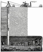 Sectional view of Radley coal mine, Bilston, Staffordshire, England, showing the engine house, head gear, and shaft leading to the mine which is being worked on a pillar (G) and Stall (H) system. From 'The Engineer's and Mechanic's Encyclopaedia' by Luke Herbert (London, 1849).