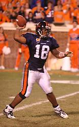 UVA quarterback Marques Hagans (18).  The Virginia Cavaliers defeated the #4 ranked Florida State University Seminoles 26-21 on October 15, 2005 at Scott Stadium in Charlottesville, VA.