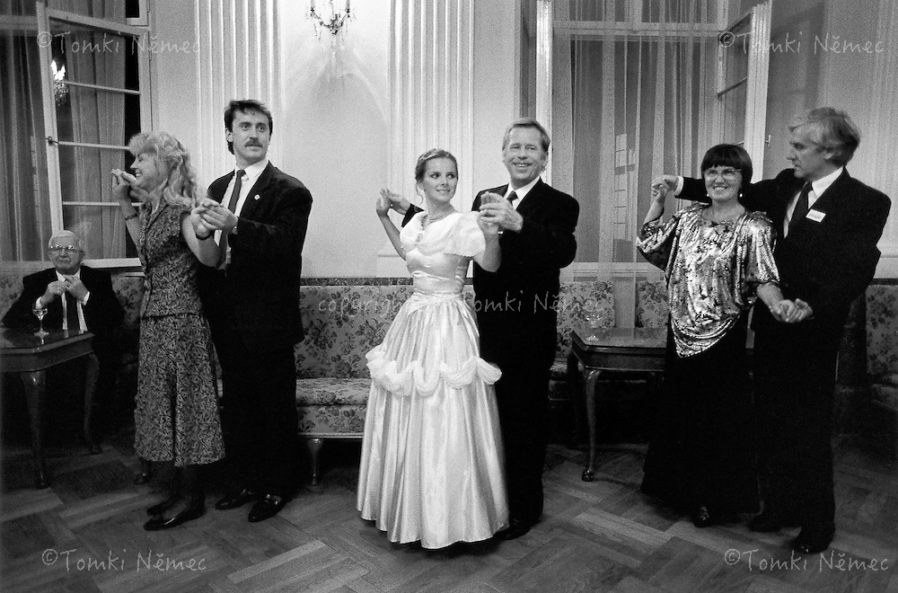 Prague, 30 August 1990 - The Polish Embassy.The President had attended a ball marking the tenth anniversary of the Solidarity movement .