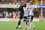 Sheffield United midfielder Jamal Campbell-Ryce and Sheffield United midfielder Louis Reed stand over a free kick  during the Sky Bet League 1 match between Bradford City and Sheffield Utd at the Coral Windows Stadium, Bradford, England on 20 September 2015. Photo by Simon Davies.