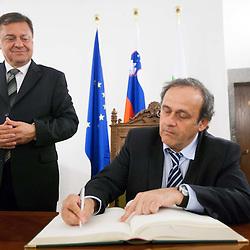 20120516: SLO, Football - UEFA's president Michel Platini at Zoran Jankovic, Mayor of Ljubljana