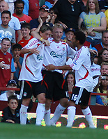 Photo: Mark Stephenson. <br /> Aston Villa v Liverpool. Barclays Premiership. 11/08/2007. <br /> Liverpool's Dirk Kuyt (C) celebrates the goal with team mates Fernado Torres (L) and Jermaine Pennant
