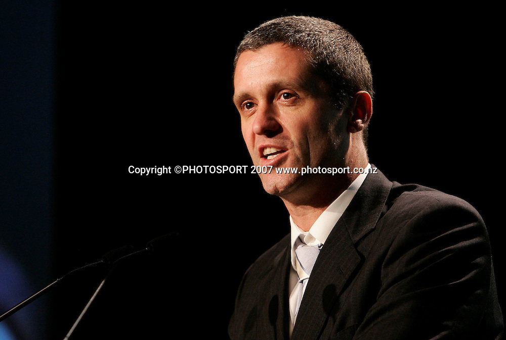 New NZ Cricket CEO Justin Vaughan speaks during the NZ Cricket Awards at Langham Hotel, Auckland, New Zealand on Wednesday 16 May 2007. Photo: Hagen Hopkins/PHOTOSPORT<br />