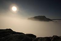 Solar halo at dawn over Laitaure delta, Sarek National Park, Laponia World Heritage Site, Sweden