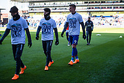 Crystal Palace (31) Erdal Rakip, Crystal Palace (9) Aleksander Sorloth, Crystal Palace #14 Lee Chung-yong   wearing t shirts showing support to Selhurst Park redevelopment  during the Premier League match between Crystal Palace and Tottenham Hotspur at Selhurst Park, London, England on 25 February 2018. Picture by Sebastian Frej.