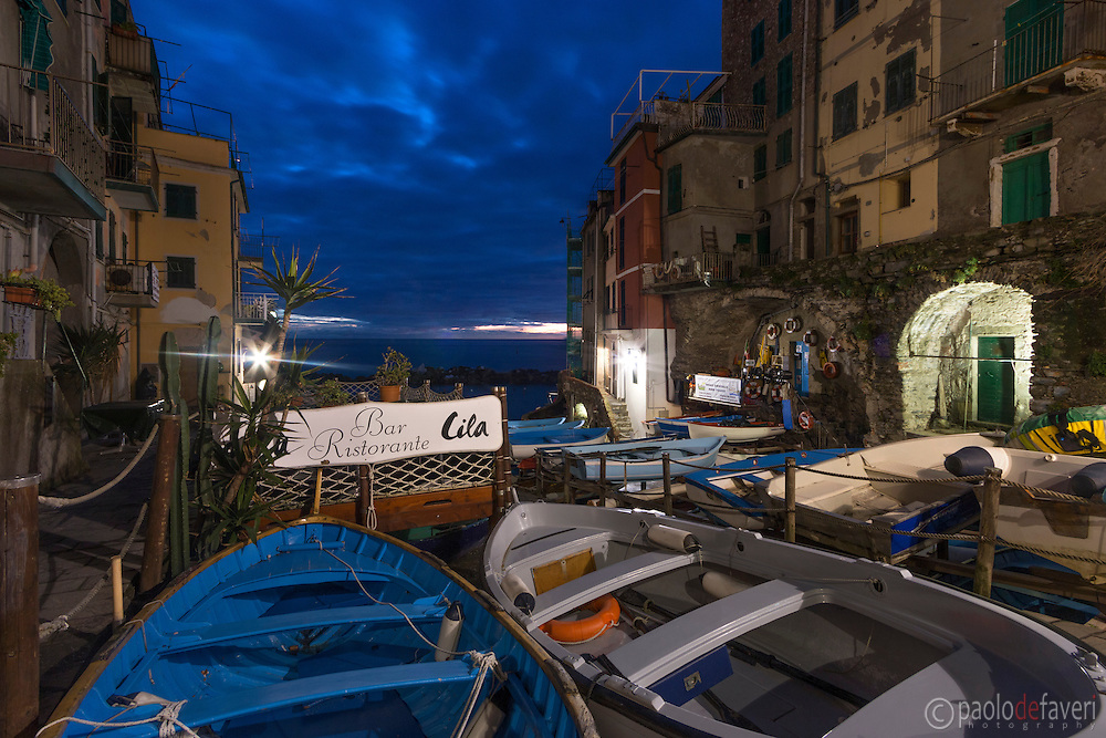 """The sign of the restaurant """"Dau Cila"""" at the Marina of Riomaggiore, one of the five small medieval villages altogether known as Cinque Terre in the Italian Riviera, Liguria, Italy"""
