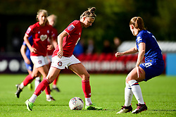 Yana Daniels of Bristol City is marked by Maren Mjelde of Chelsea Women - Mandatory by-line: Ryan Hiscott/JMP - 29/09/2019 - FOOTBALL - SGS College Stoke Gifford Stadium - Bristol, England - Bristol City Women v Chelsea Women - FA Women's Super League