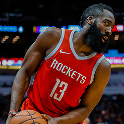 Jan 26, 2018; New Orleans, LA, USA; Houston Rockets guard James Harden (13) against the New Orleans Pelicans during the first quarter at the Smoothie King Center. Mandatory Credit: Derick E. Hingle-USA TODAY Sports