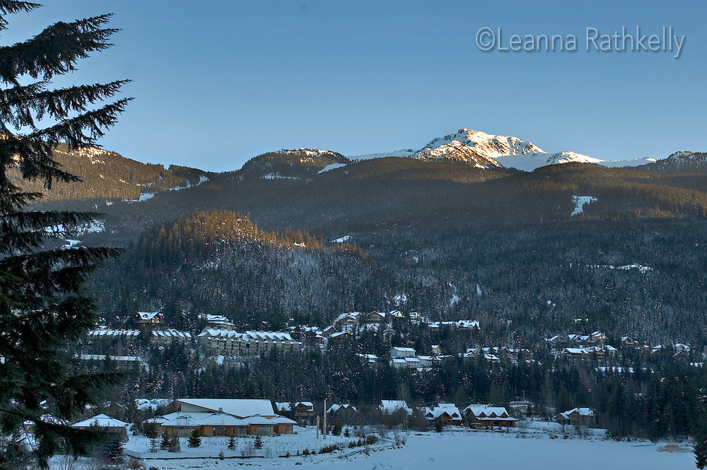 Whistler Mountain above Nita Lake on an early winter late afternoon.