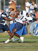 OXNARD, CA - AUGUST 17:  Wide receiver Sam Hurd #17 of the Dallas Cowboys twists his body to catch a pass during Dallas Cowboys training camp on August 17, 2006 in Oxnard, California. ©Paul Anthony Spinelli *** Local Caption *** Sam Hurd