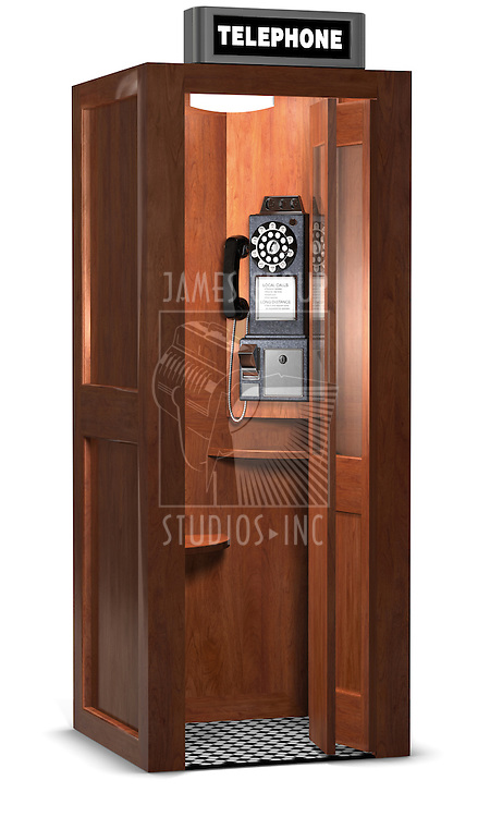 Retro wooden phone booth isolated on white with a clipping path