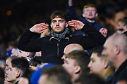 A Leeds United fan during the EFL Sky Bet Championship match between Leeds United and West Bromwich Albion at Elland Road, Leeds, England on 1 March 2019.