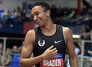 Feb 9, 2019; New York, NY, USA; Donavan Brazier celebrates after placing second in the 800m in an American record 1:44.41 during the 112th Millrose Games at The Armory.
