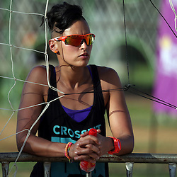 Sheana-Alice Abrahams of South-Africa in the match between Sheana-Alice Abrahams and Liezle Peterson of South-Africa vs Giulia Momoli and Laura Giombini of Italy  during Day 2 of the FIVB Mangaung Open on December 10, 2014 in Bloemfontein, South Africa.