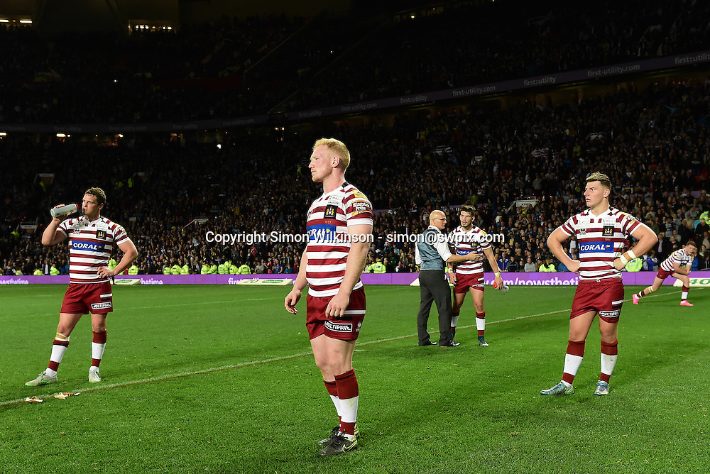 Picture by Alex Broadway/SWpix.com - 10/10/2015 - Rugby League - First Utility Super League Grand Final - Leeds Rhinos v Wigan Warriors - Old Trafford, Manchester, England - Liam Farrell of Wigan Warriors looks dejected after the game.
