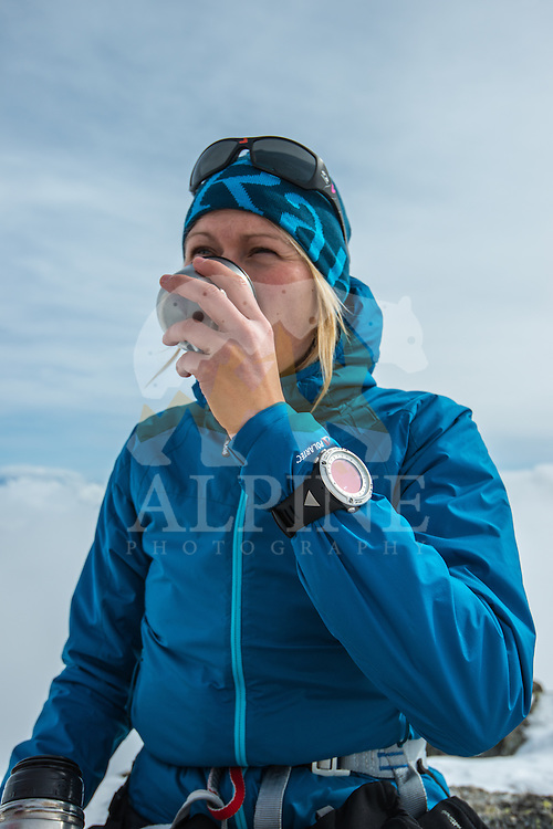 Squash Falconer, a female British adventurer, as seen drinking tea on a sunny Winter day in Mont Blanc Massif.