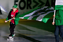 Kids with flags before ice-hockey match between HDD Tilia Olimpija and EHC Liwest Black Wings Linz at fourth match in Semifinal  of EBEL league, on March 13, 2012 at Hala Tivoli, Ljubljana, Slovenia. (Photo By Matic Klansek Velej / Sportida)