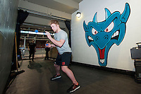 KELOWNA, CANADA -FEBRUARY 25: Jordon Cooke #30 of the Kelowna Rockets goes through some pre-game exercises against the Prince George Cougars on February 25, 2014 at Prospera Place in Kelowna, British Columbia, Canada.   (Photo by Marissa Baecker/Getty Images)  *** Local Caption *** Jordon Cooke;