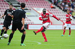 Bristol City's Albert Adomah shoots - Photo mandatory by-line: Dougie Allward/JMP - Tel: Mobile: 07966 386802 27/03/2013 - SPORT - FOOTBALL - Goldsands Stadium - Bournemouth -  Bournemouth V Bristol City - Pre Season friendly