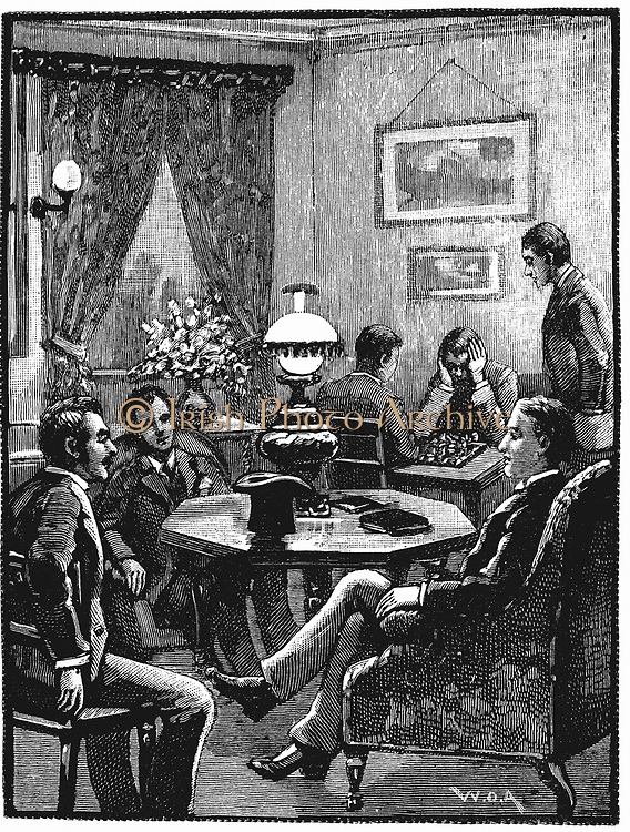Sitting room at Young Men's Christian Association (YMCA's) Exeter Hall, London, where young men could relax and receive visitors. Wood engraving, 1887