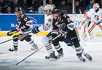 KELOWNA, CANADA - SEPTEMBER 25: Cole Linaker #26 of Kelowna Rockets checks Ondrej Vala #42 of Kamloops Blazers on September 25, 2015 at Prospera Place in Kelowna, British Columbia, Canada.  (Photo by Marissa Baecker/Shoot the Breeze)  *** Local Caption *** Cole Linaker; Ondrej Vala;