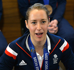 Olympic gold medalist Lizzie Yarnold attends a press conference after the GB Team arrived at Heathrow from Moscow.<br /> Team GB Return from the Sochi 2014 Olympic Winter Games to Heathrow Airport, London, UK.<br /> Monday, 24th February 2014. Picture by David Dyson / i-Images