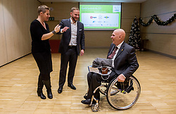Tina Cipot, Gregor Kosi and Franc Pinter Anco during Slovenian Disabled Sports personality of the year 2017 event, on December 6, 2017 in Austria Trend Hotel, Ljubljana, Slovenia. Photo by Vid Ponikvar / Sportida