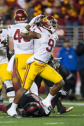 SANTA CLARA, CA - DECEMBER 05:  Wide receiver JuJu Smith-Schuster #9 of the USC Trojans celebrates after a first down against the Stanford Cardinal during the third quarter of the Pac-12 Championship game at Levi's Stadium on December 5, 2015 in Santa Clara, California. The Stanford Cardinal defeated the USC Trojans 41-22. (Photo by Jason O. Watson/Getty Images) *** Local Caption *** JuJu Smith-Schuster