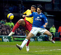 Photo: Ed Godden/Sportsbeat Images.<br /> Watford v Everton. The Barclays Premiership. 24/02/2007.<br /> Watford's Adrian Mariapp (L), is tackled by Mikel Arteta.