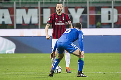 April 8, 2018 - Milan, Milan, Italy - 8th April 2018, San Siro, Milan, Italy; Serie A football, AC Milan versus US Sassuolo; Leonardo Bonucci of AC Milan ompetes for the ball with Luca Mazzitelli of US Sassuolo (Credit Image: © Gaetano Piazzolla/Pacific Press via ZUMA Wire)