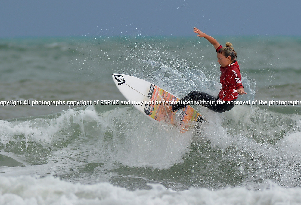 Coco Ho during the finals of the PORT TARANAKI PRO WSL WOMENS 6 star Qualifying series Featuring the worlds highest ranked surfers including many of the World Tours top 17.<br /> This is stop number three of the 2015 WSL Women's 6-Star Qualifying Series competitions where the best in the world battle it out, gaining points towards securing one of six coveted spaces on the WSL World Championship Tour for the following year.<br />  <br /> Photo John Velvin/ESPNZ<br />  www.elitesportsphotographynz.com