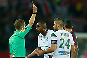 The referee delivers a yellow card during the French championship L1 football match between Paris Saint-Germain (PSG) and Saint-Etienne (ASSE), on August 25, 2017 at the Parc des Princes in Paris, France - Photo Benjamin Cremel / ProSportsImages / DPPI