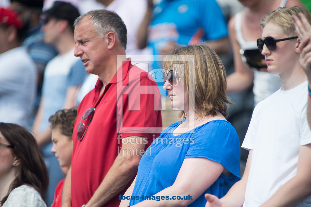 Fans during a minutes silence on day four of the Men's Hero Hockey World League Semi-Finals at Lee Valley Hockey Centre, Stratford<br /> Picture by Hannah Fountain/Focus Images Ltd 07814482222<br /> 18/06/2017